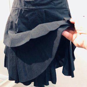 XL Black Layered Cotton Mini Skirt